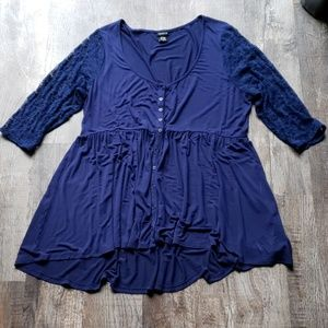 Torrid Lace Sleeve Button Babydoll Shirt